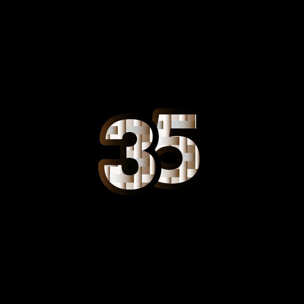35 anos de comemoração de aniversário elegante número preto ilustração de design de modelo vetorial vetor