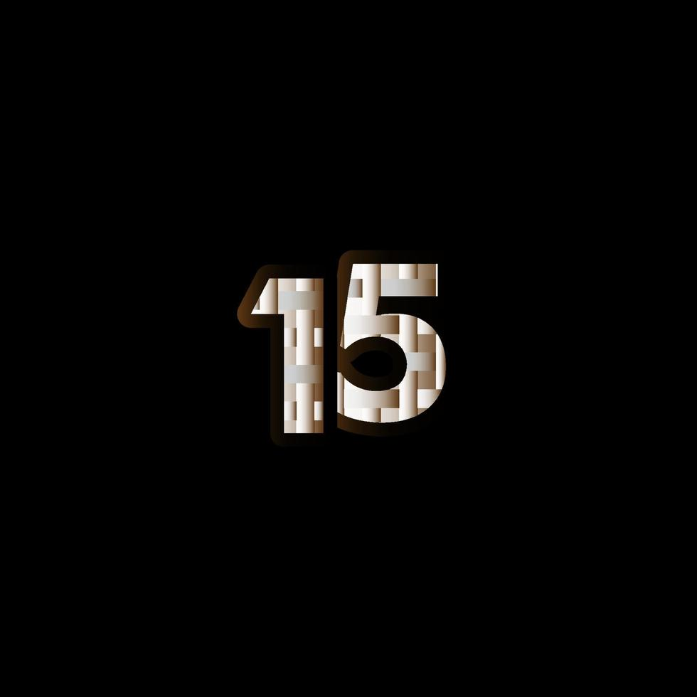 15 anos de comemoração de aniversário elegante número preto ilustração de design de modelo vetorial vetor