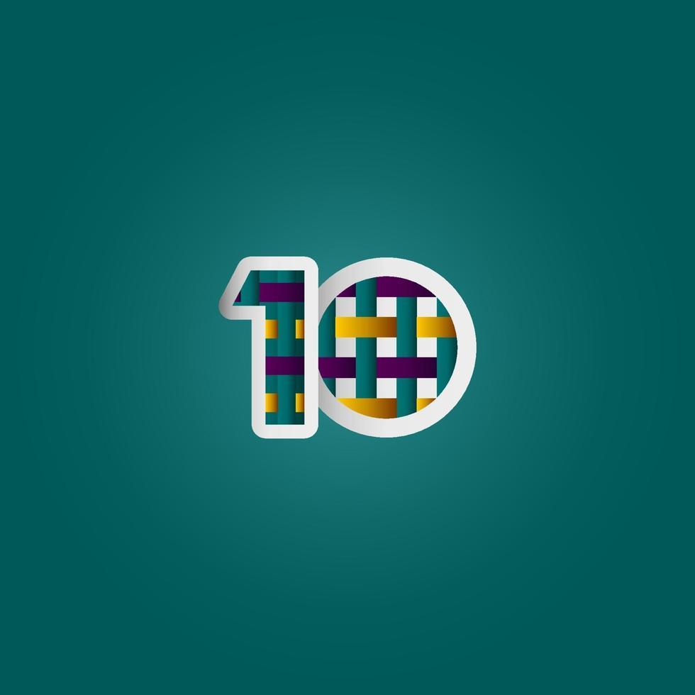 10 anos de comemoração de aniversário elegante cor número vetor modelo design ilustração