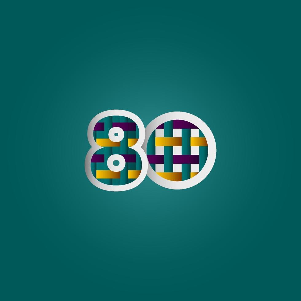 Celebração de aniversário de 80 anos cor elegante número ilustração vetorial de modelo de design vetor