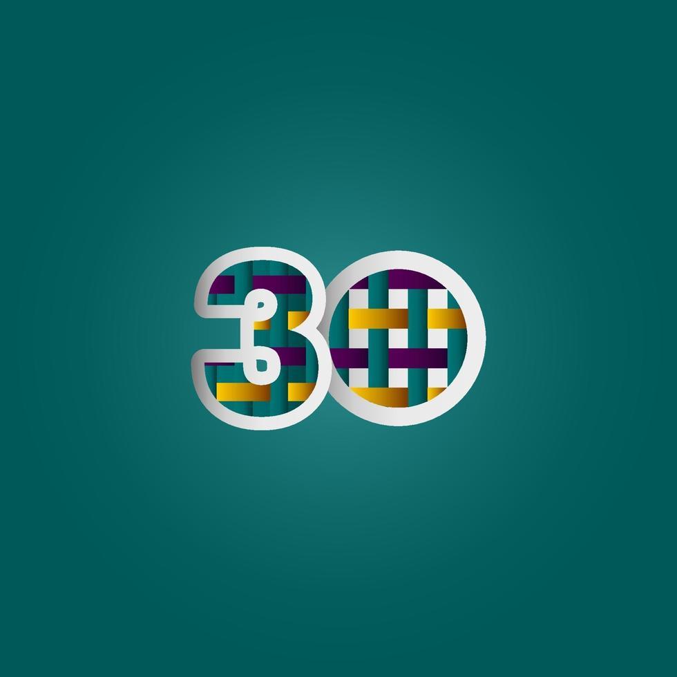 Celebração de aniversário de 30 anos elegante cor número vetor modelo design ilustração