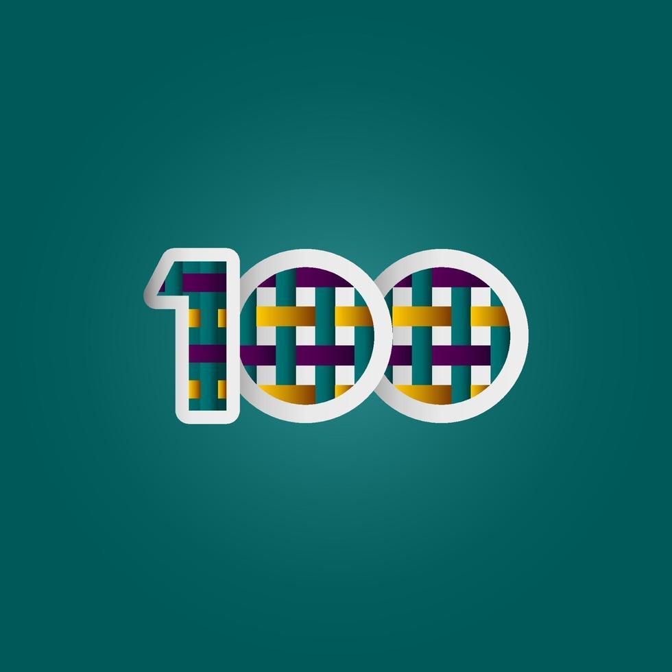 Celebração de aniversário de 100 anos elegante cor número vetor modelo design ilustração