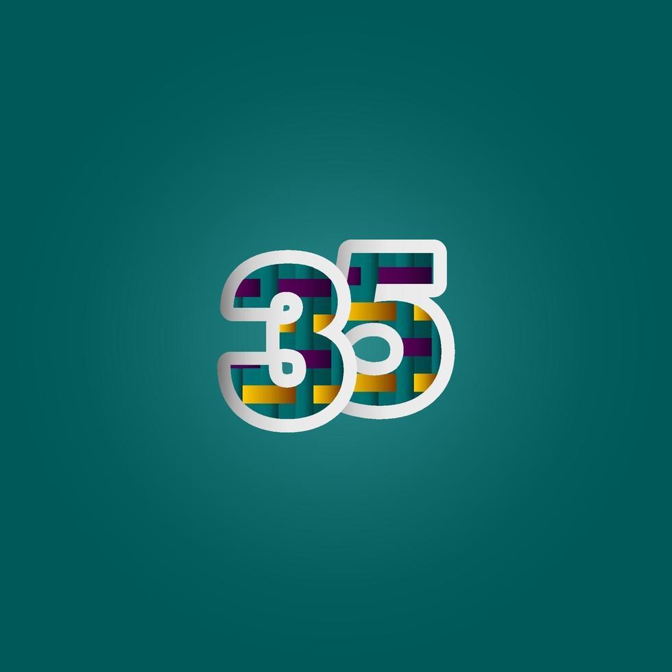 Celebração de aniversário de 35 anos cor elegante número ilustração vetorial modelo de design vetor