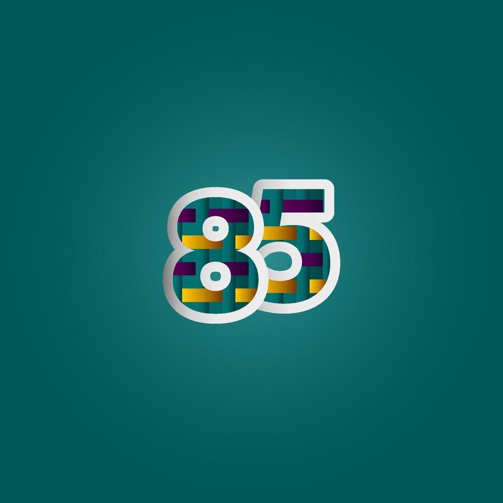 85 anos de celebração de aniversário elegante cor número vetor modelo design ilustração