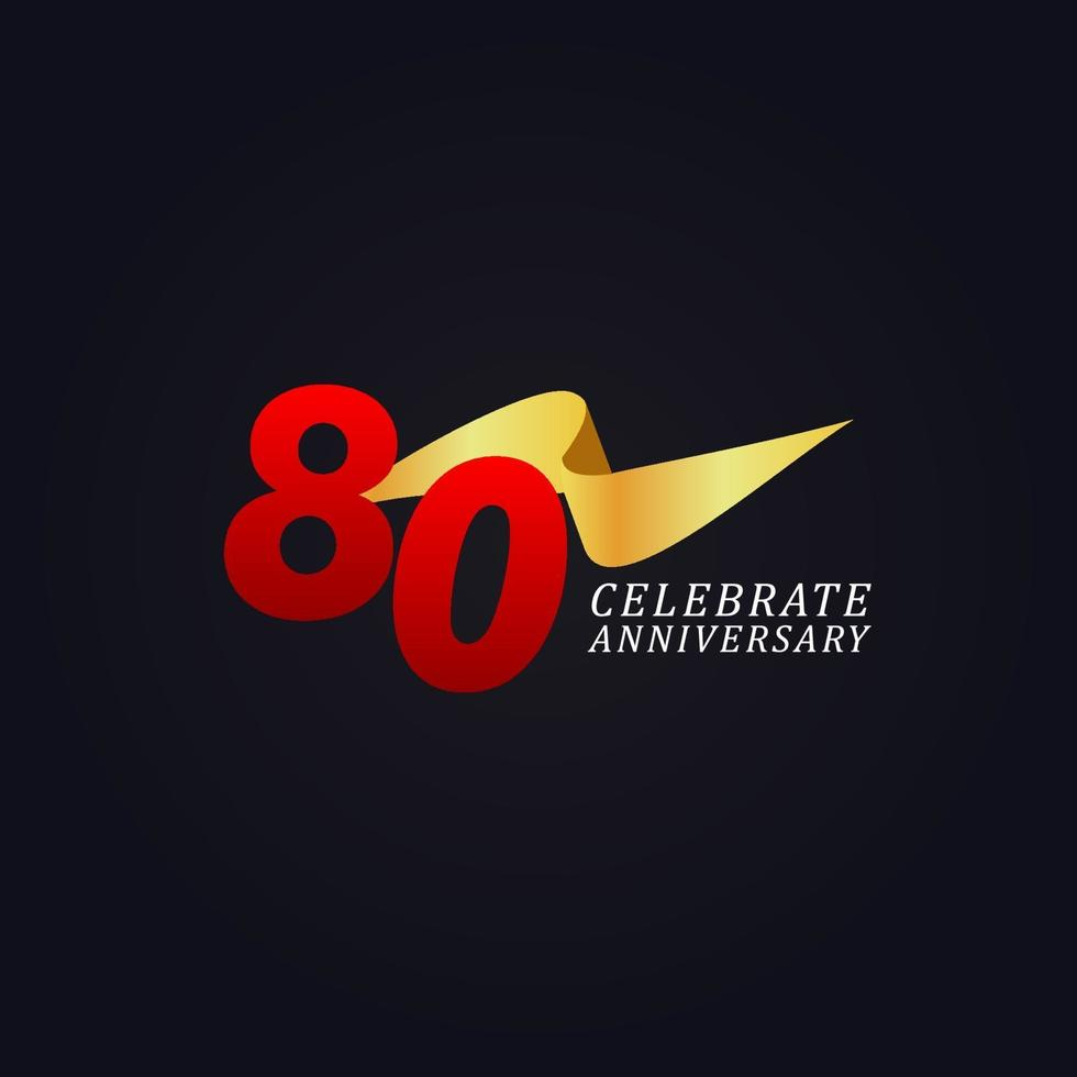 80 anos de comemoração de aniversário elegante ilustração de design de modelo de fita dourada vetor