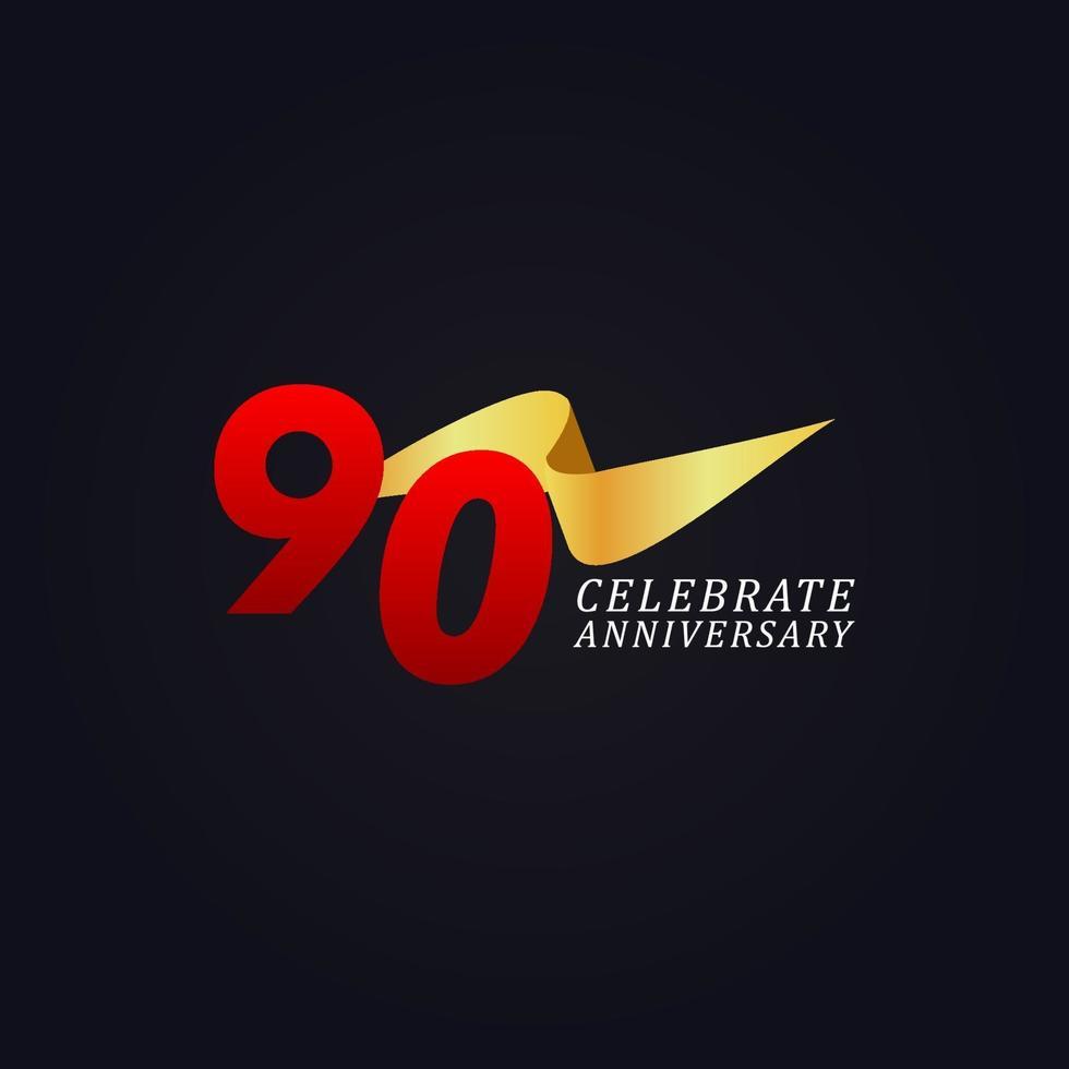 90 anos de comemoração de aniversário elegante ilustração de design de modelo de fita de ouro vetor