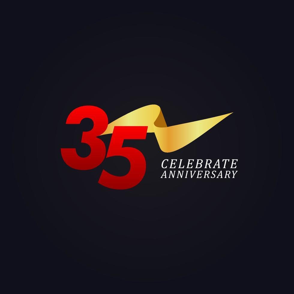 35 anos de comemoração de aniversário elegante ilustração de design de modelo de fita de ouro vetor