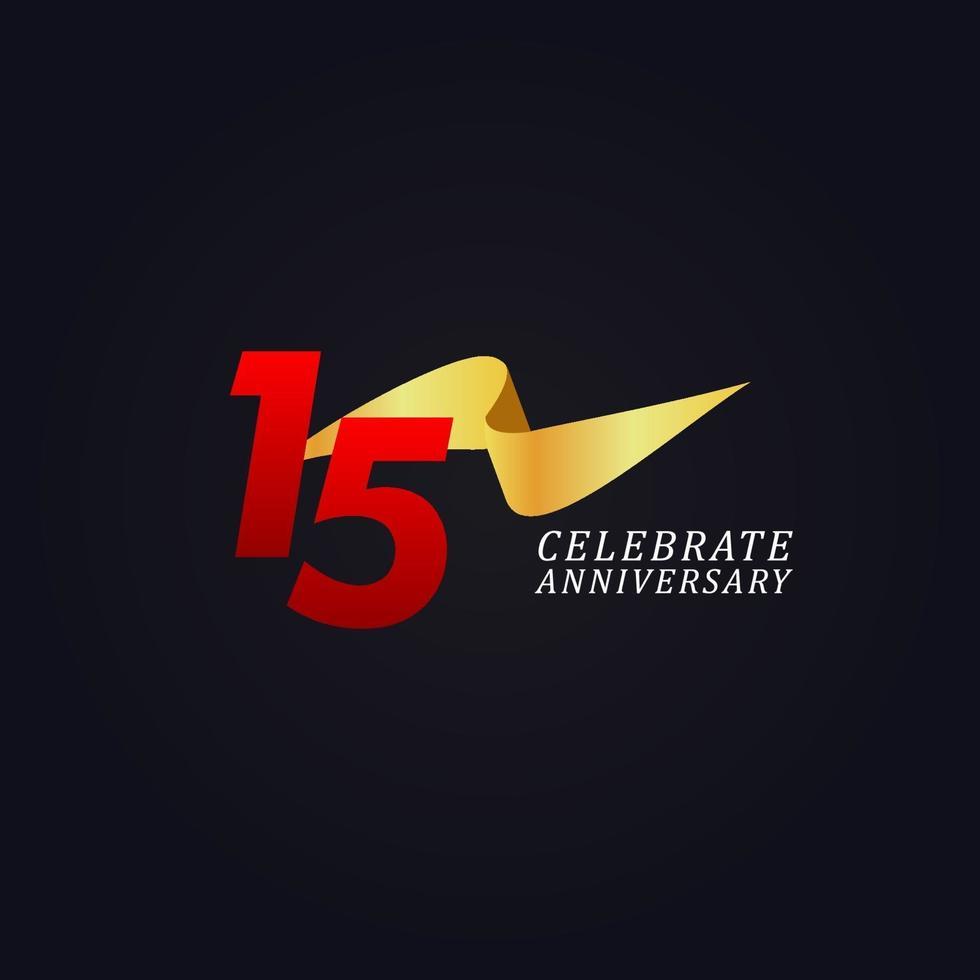 15 anos de comemoração de aniversário elegante ilustração de design de modelo de fita de ouro vetor