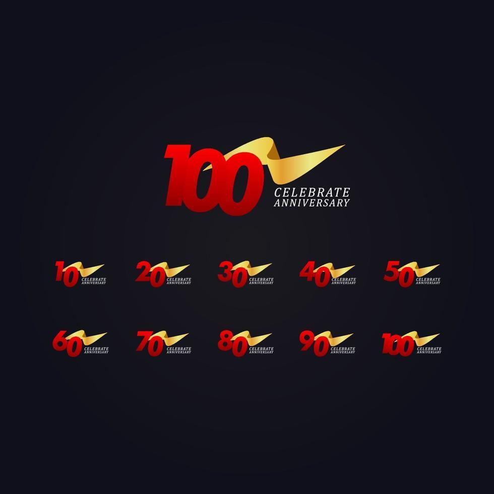 100 anos de celebração de aniversário ilustração de design de modelo de vetor de fita de ouro elegante