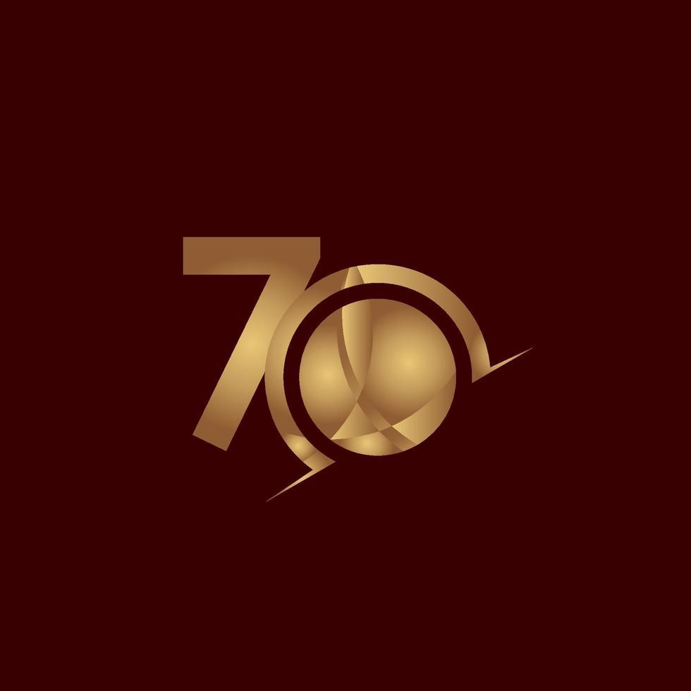 70 anos de comemoração de aniversário elegante número ouro vetor modelo design ilustração