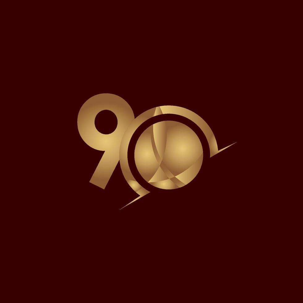 90 anos de comemoração de aniversário elegante número ouro vetor modelo design ilustração