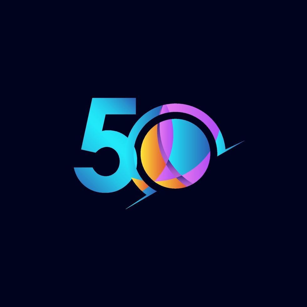 50 anos de comemoração de aniversário elegante número ilustração vetorial de modelo de design vetor