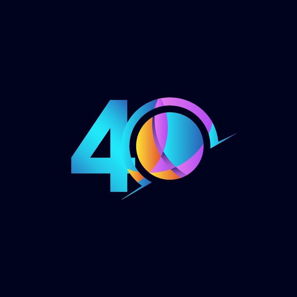 Celebração de aniversário de 40 anos elegante número ilustração vetorial de modelo vetor