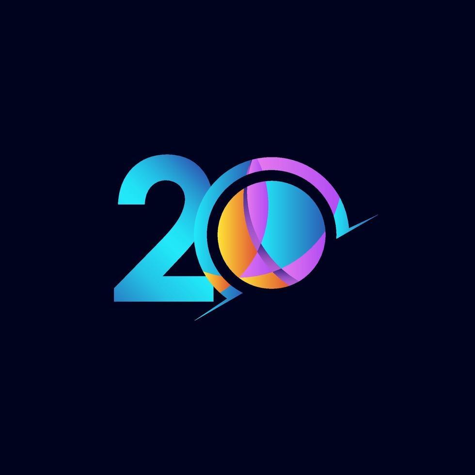20 anos de comemoração de aniversário elegante número ilustração de design de modelo vetorial vetor