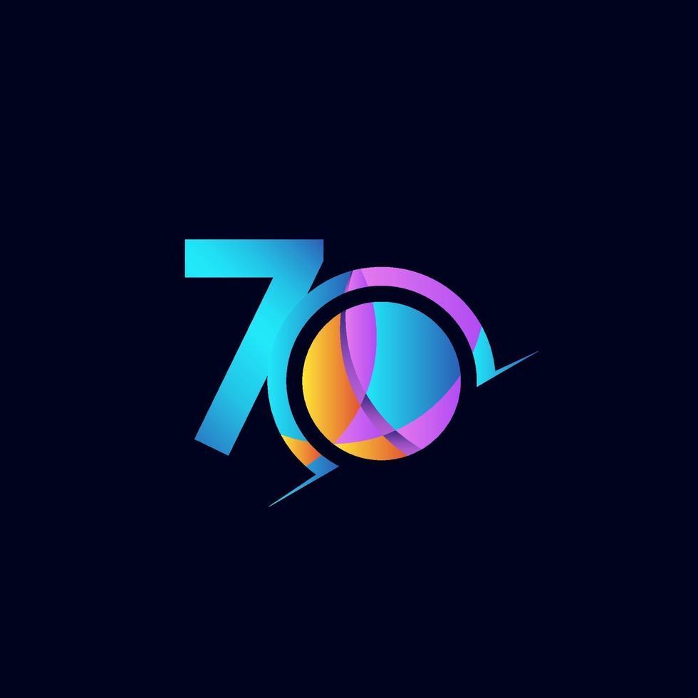 70 anos de comemoração de aniversário elegante número ilustração vetorial de modelo de design vetor