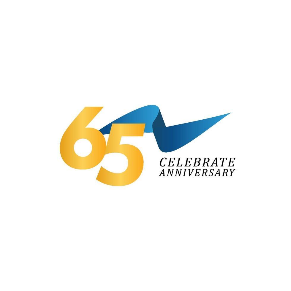 65 anos de celebração de aniversário ilustração de design de modelo de fita elegante vetor