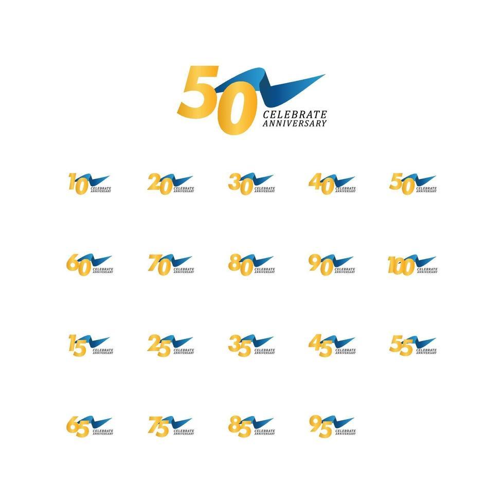 50 anos de comemoração de aniversário de ilustração de design de modelo de fita elegante vetor