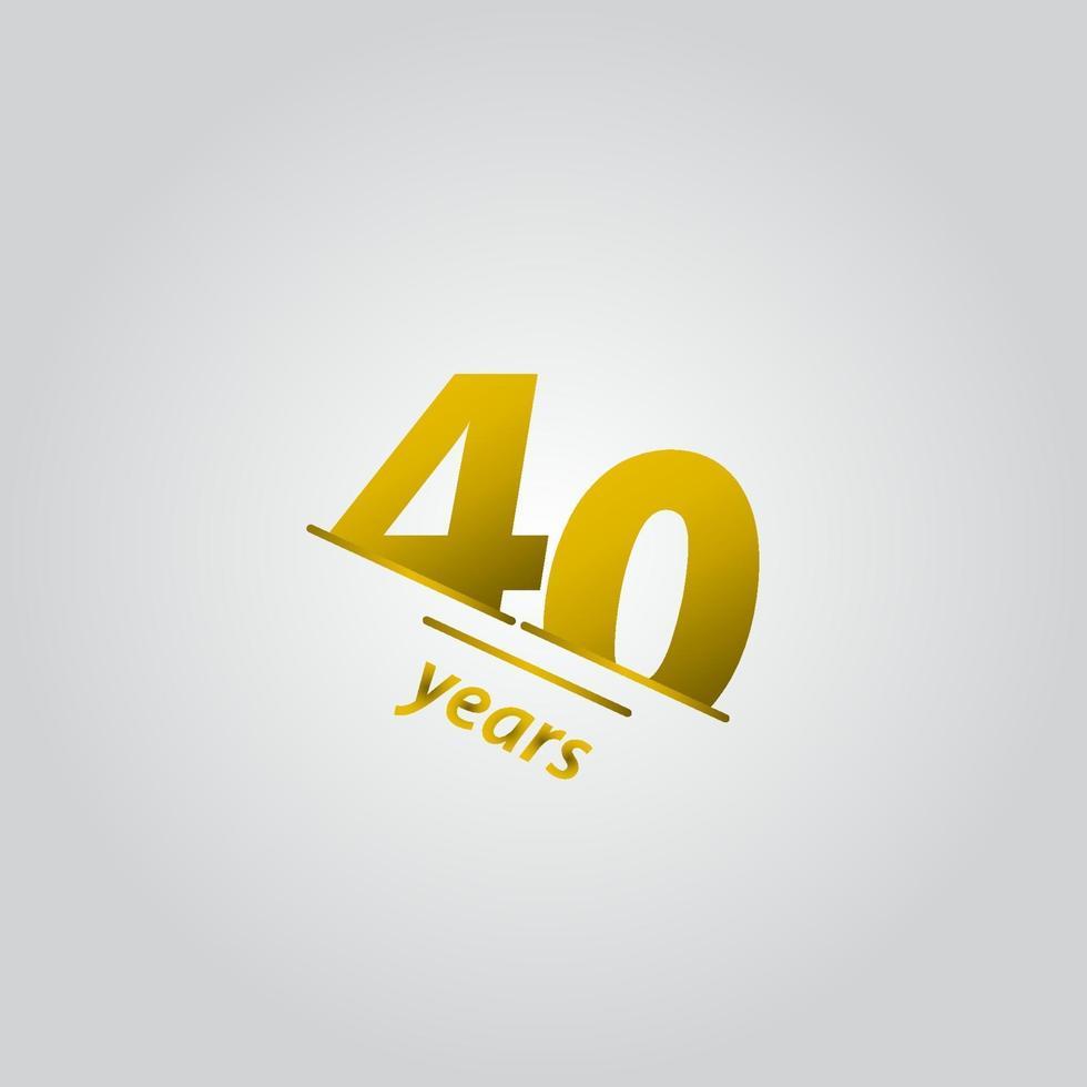 40 anos de comemoração de aniversário de ouro linha ilustração de design de modelo vetorial vetor