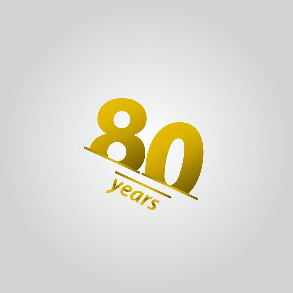 80 anos comemoração de aniversário ilustração ouro linha modelo design vetor