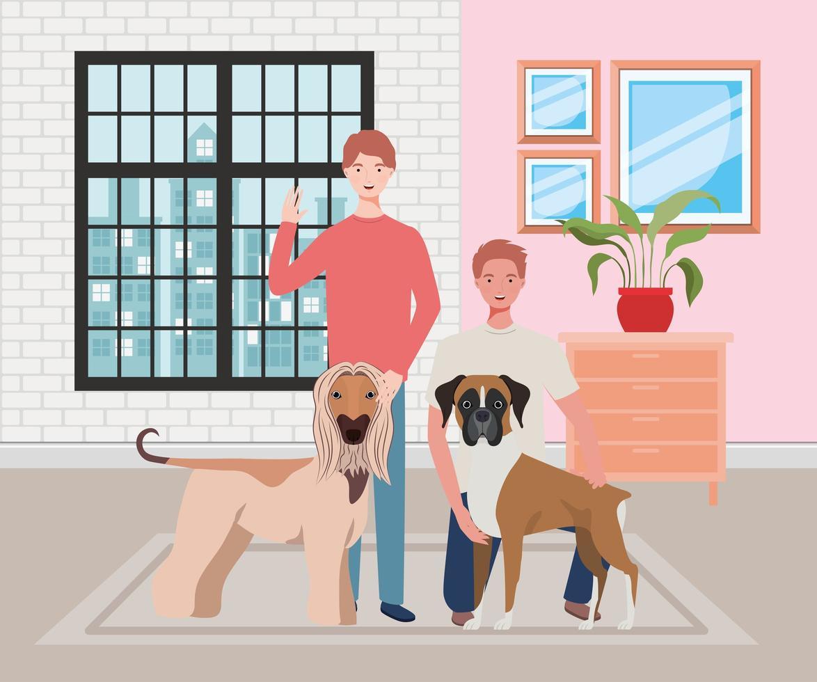jovens com cachorros fofos mascotes na casa vetor