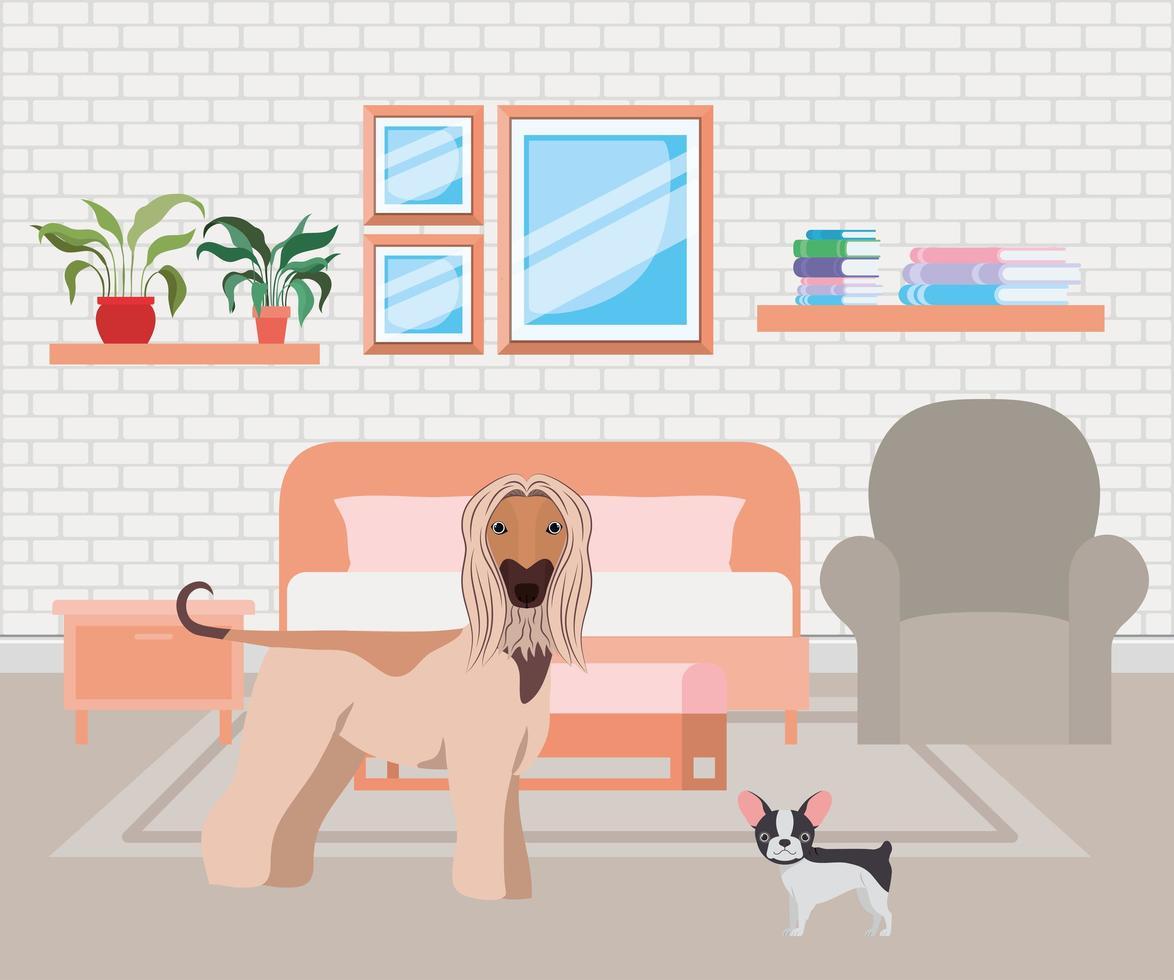 cachorrinhos fofos no quarto vetor