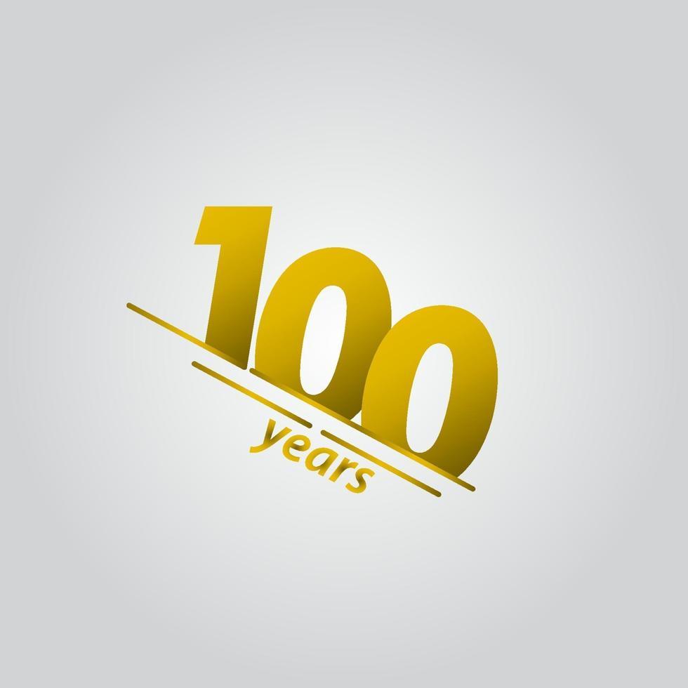 100 anos comemoração de aniversário ilustração ouro linha modelo design vetor
