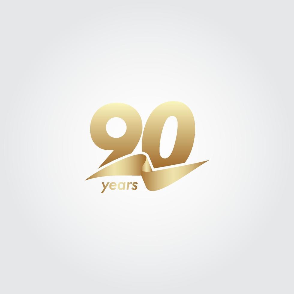 Ilustração do projeto do modelo do vetor da fita de ouro da celebração do aniversário de 90 anos