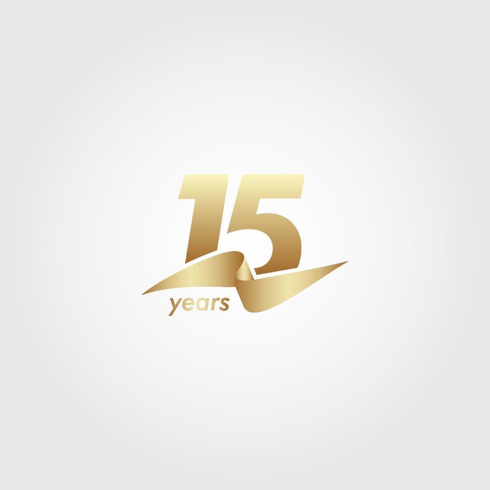 15 anos de comemoração de aniversário de ilustração de design de modelo de fita de ouro vetor