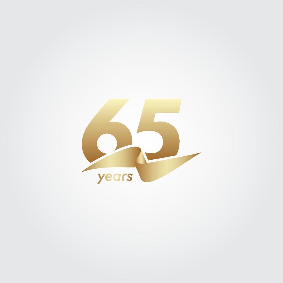 65 anos de comemoração de aniversário de ilustração de design de modelo de fita de ouro vetor