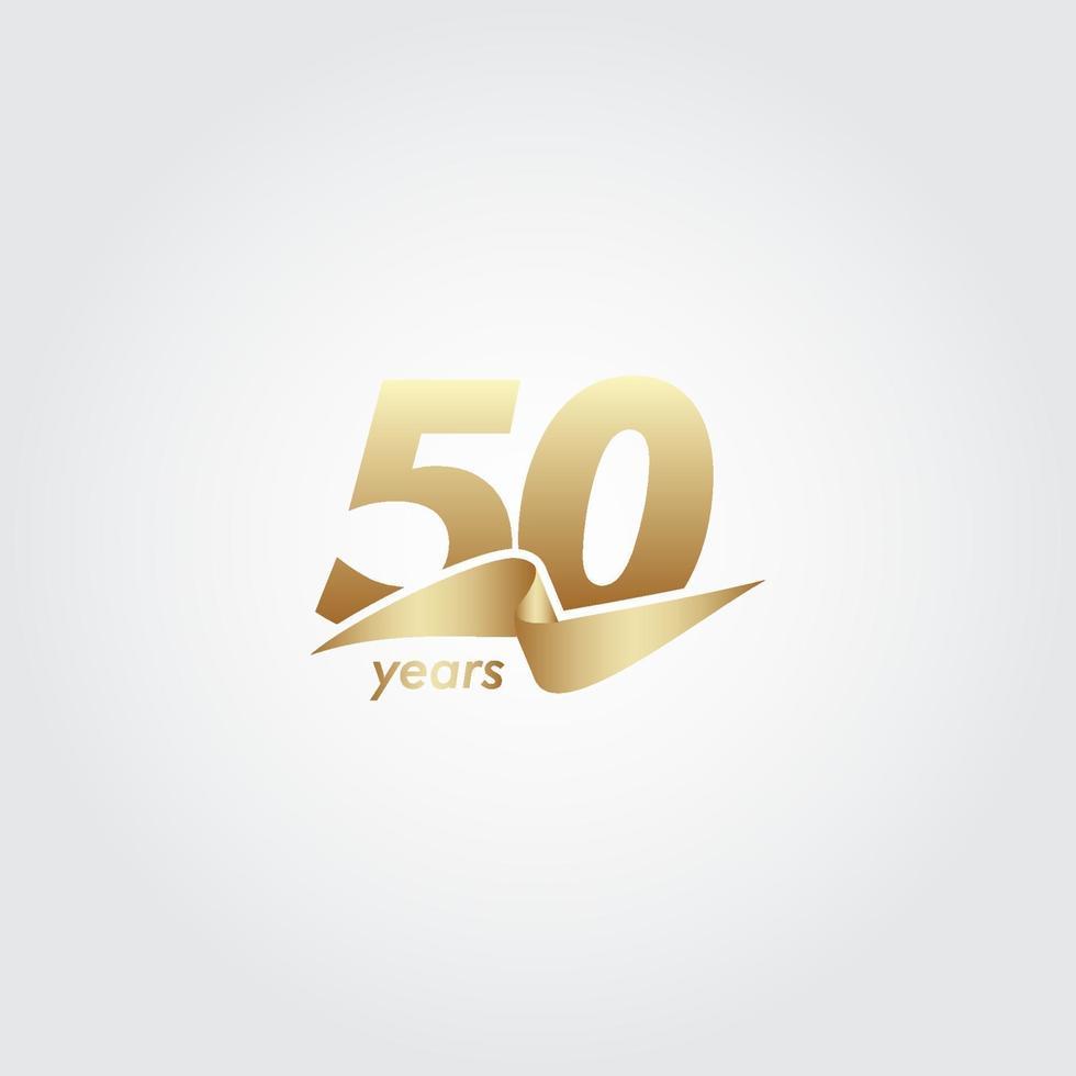 50 anos de comemoração de aniversário de ilustração de design de modelo vetorial de fita de ouro vetor