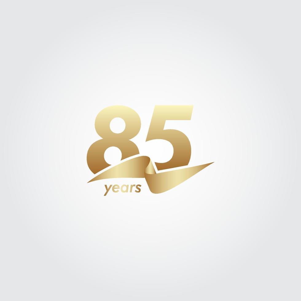 85 anos de comemoração de aniversário de ilustração de design de modelo de fita de ouro vetor