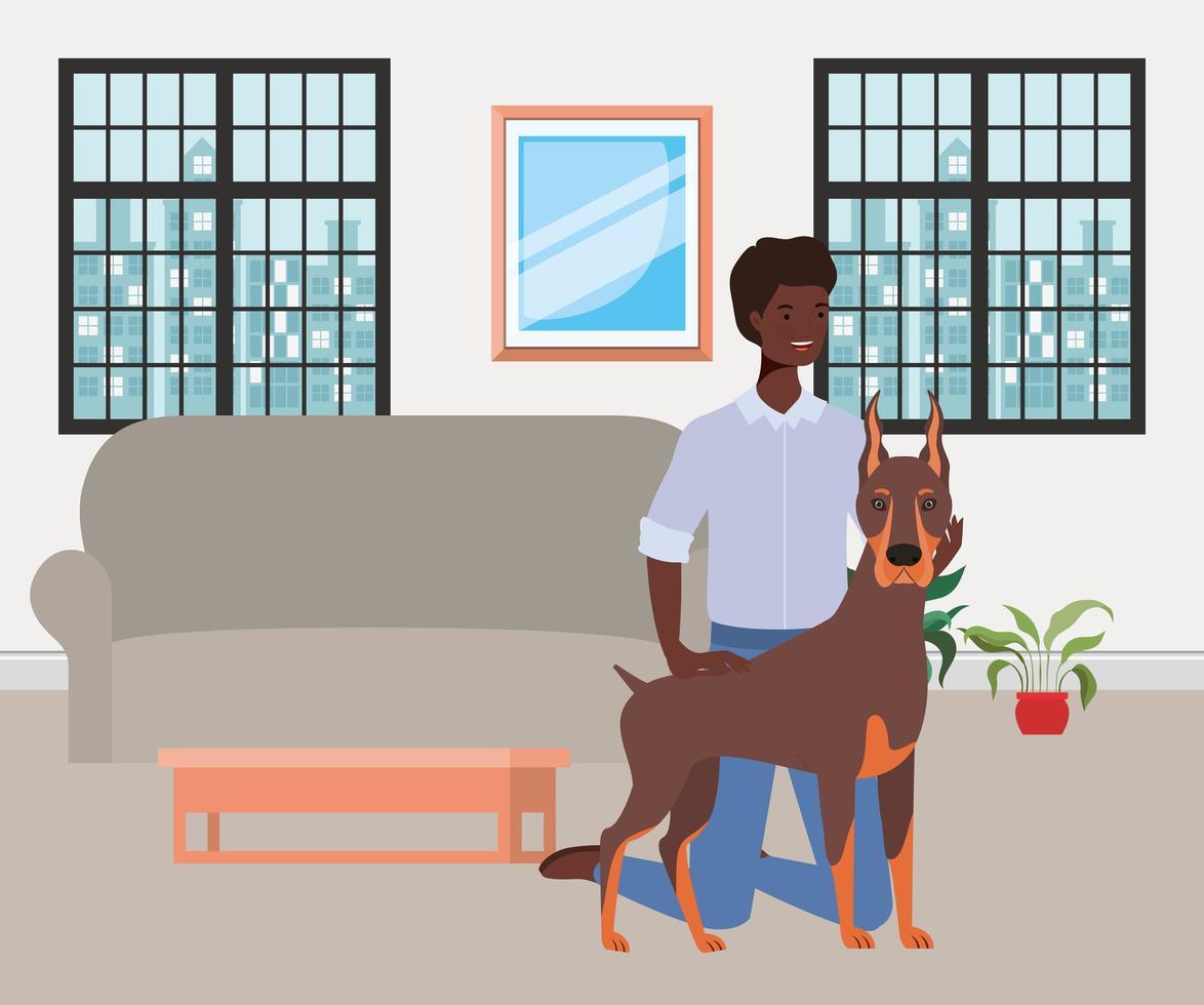 homem afro com mascote de cachorro fofo na sala vetor