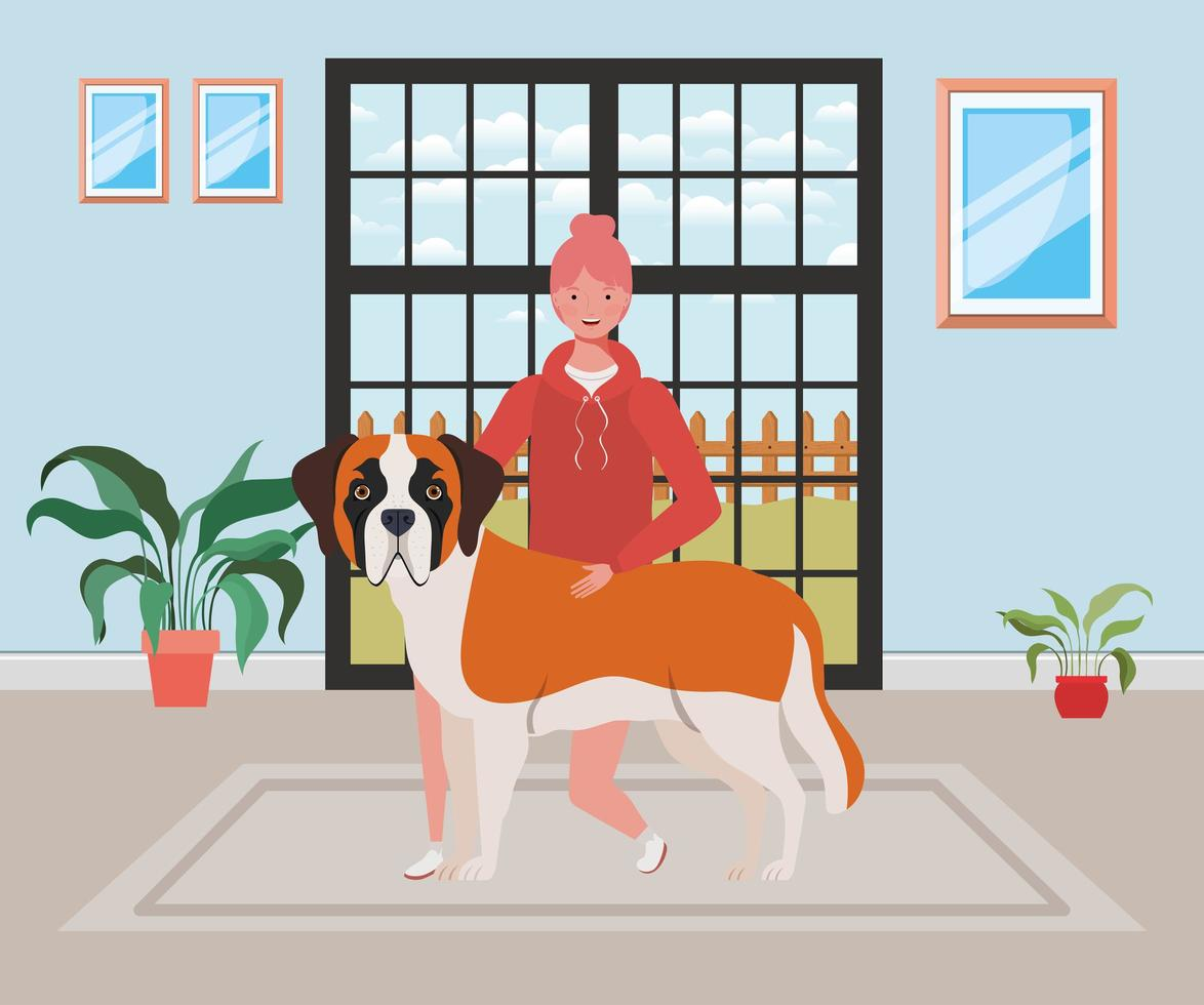 jovem mulher com cachorro fofo na sala de casa vetor
