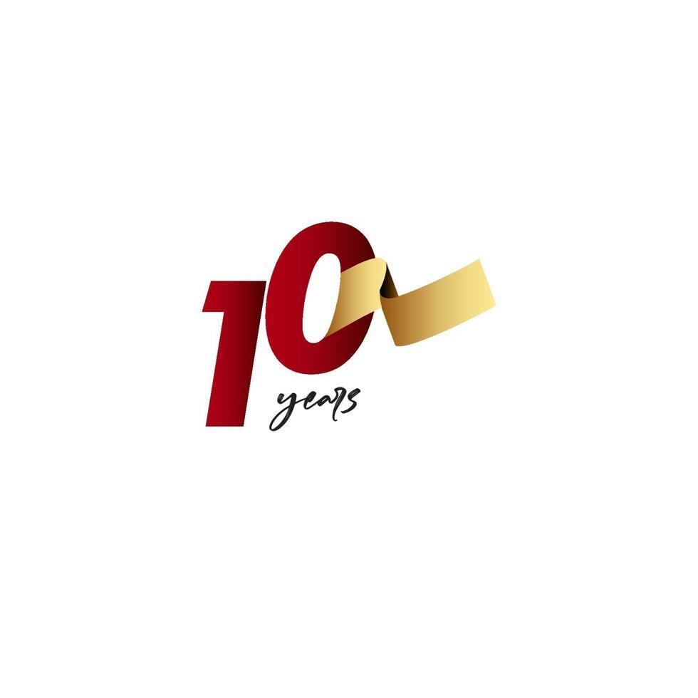 10 anos de comemoração de aniversário de ilustração de design de modelo de fita de ouro vetor