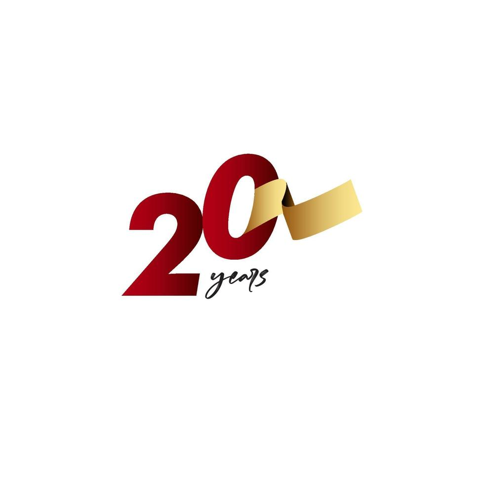 20 anos de comemoração de aniversário de ilustração de design de modelo de fita de ouro vetor