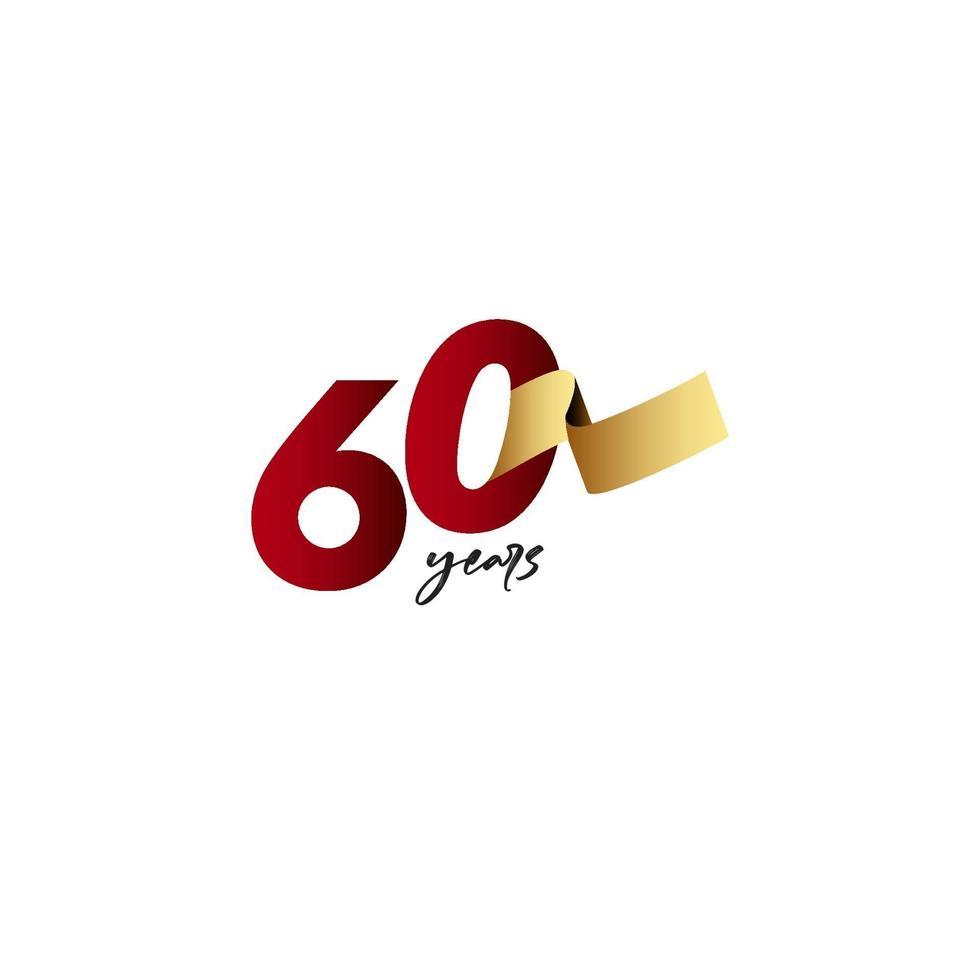 60 anos de comemoração de aniversário de ilustração de design de modelo de fita de ouro vetor