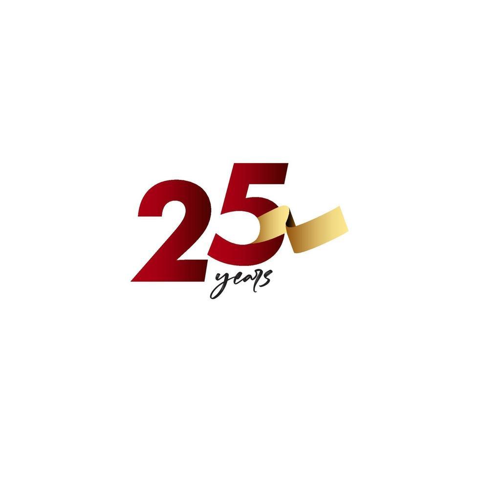 25 anos de comemoração de aniversário de ilustração de design de modelo de fita de ouro vetor