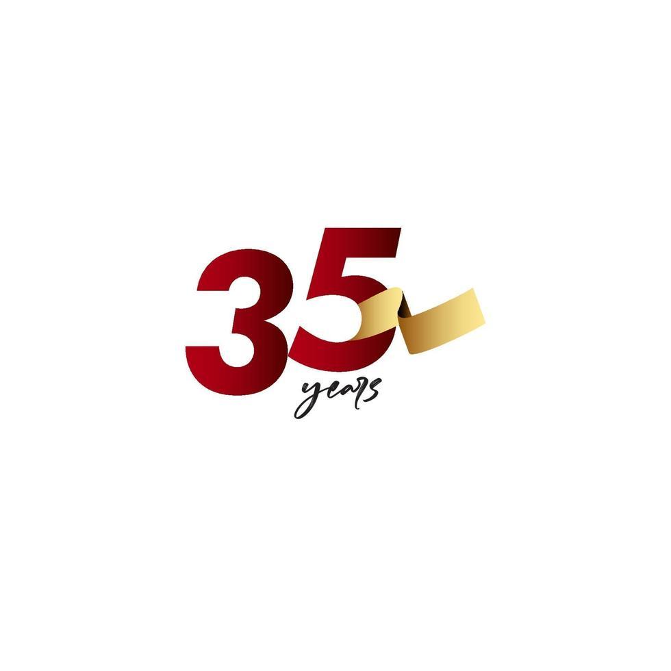 35 anos de comemoração de aniversário de ilustração de design de modelo vetorial de fita de ouro vetor