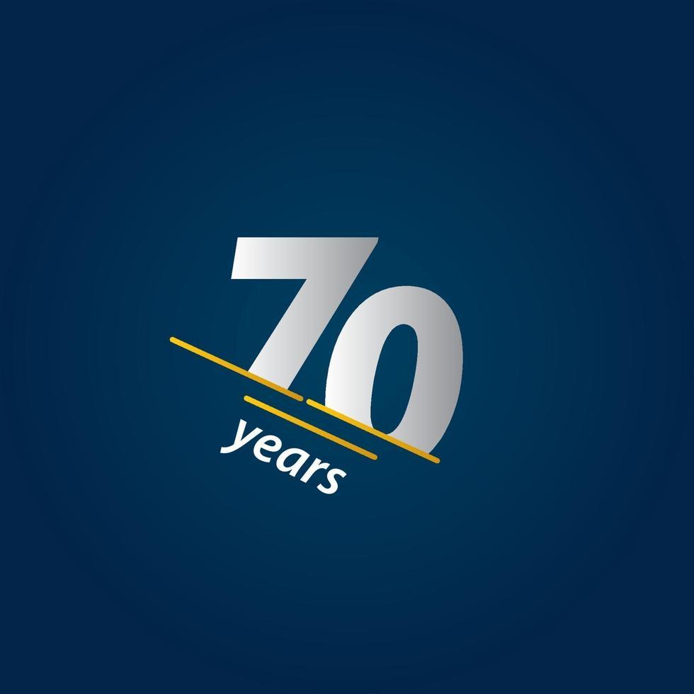 Ilustração de design de modelo de vetor em azul e branco de comemoração de aniversário de 70 anos
