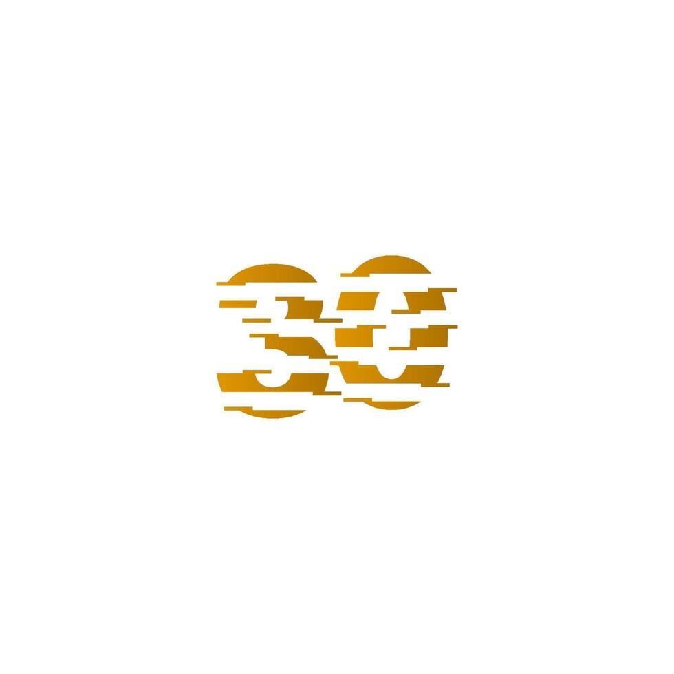 Ilustração de design de modelo de vetor de número de celebração de aniversário de 30 anos
