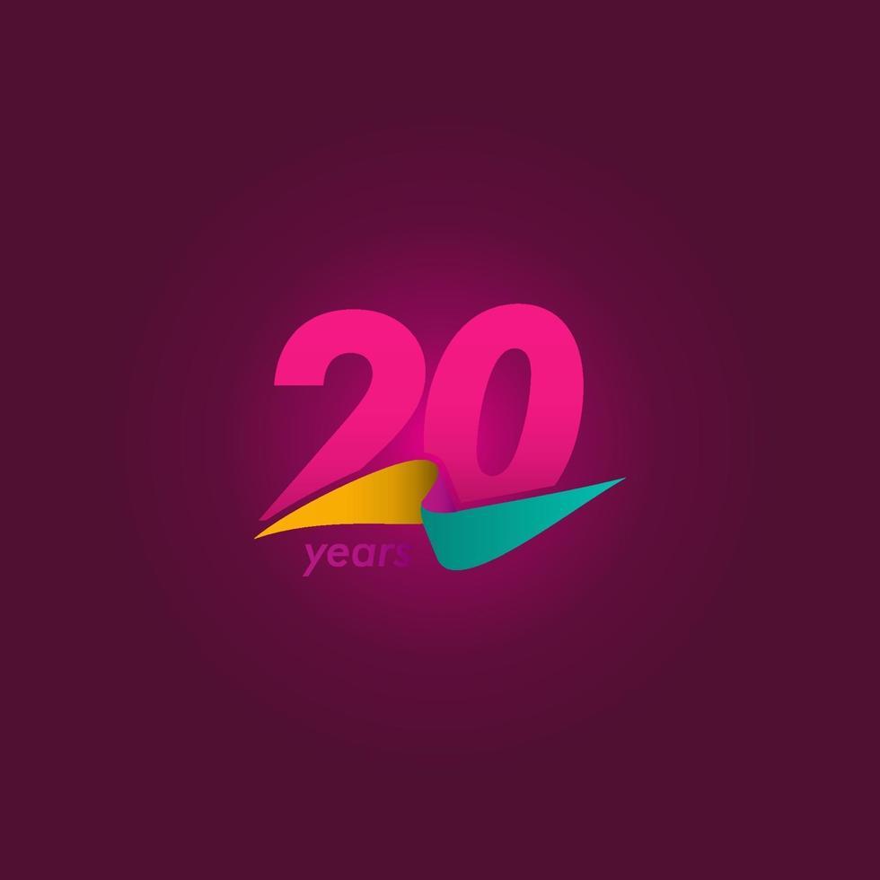 20 anos de comemoração de aniversário de ilustração de design de modelo de fita roxa vetor