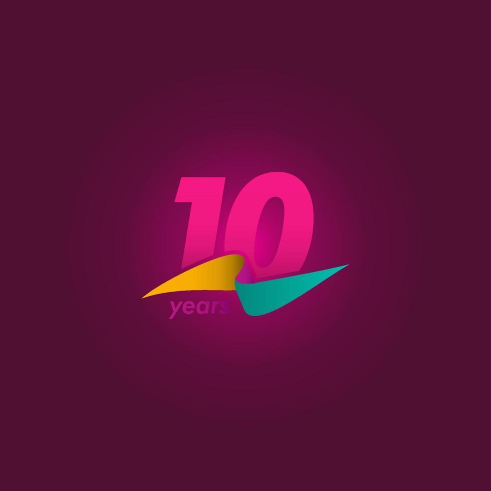 10 anos de celebração de aniversário de ilustração de design de modelo vetorial fita roxa vetor