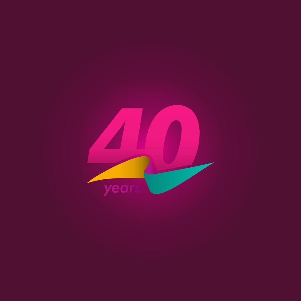 40 anos de comemoração de aniversário de ilustração de design de modelo de fita roxa vetor
