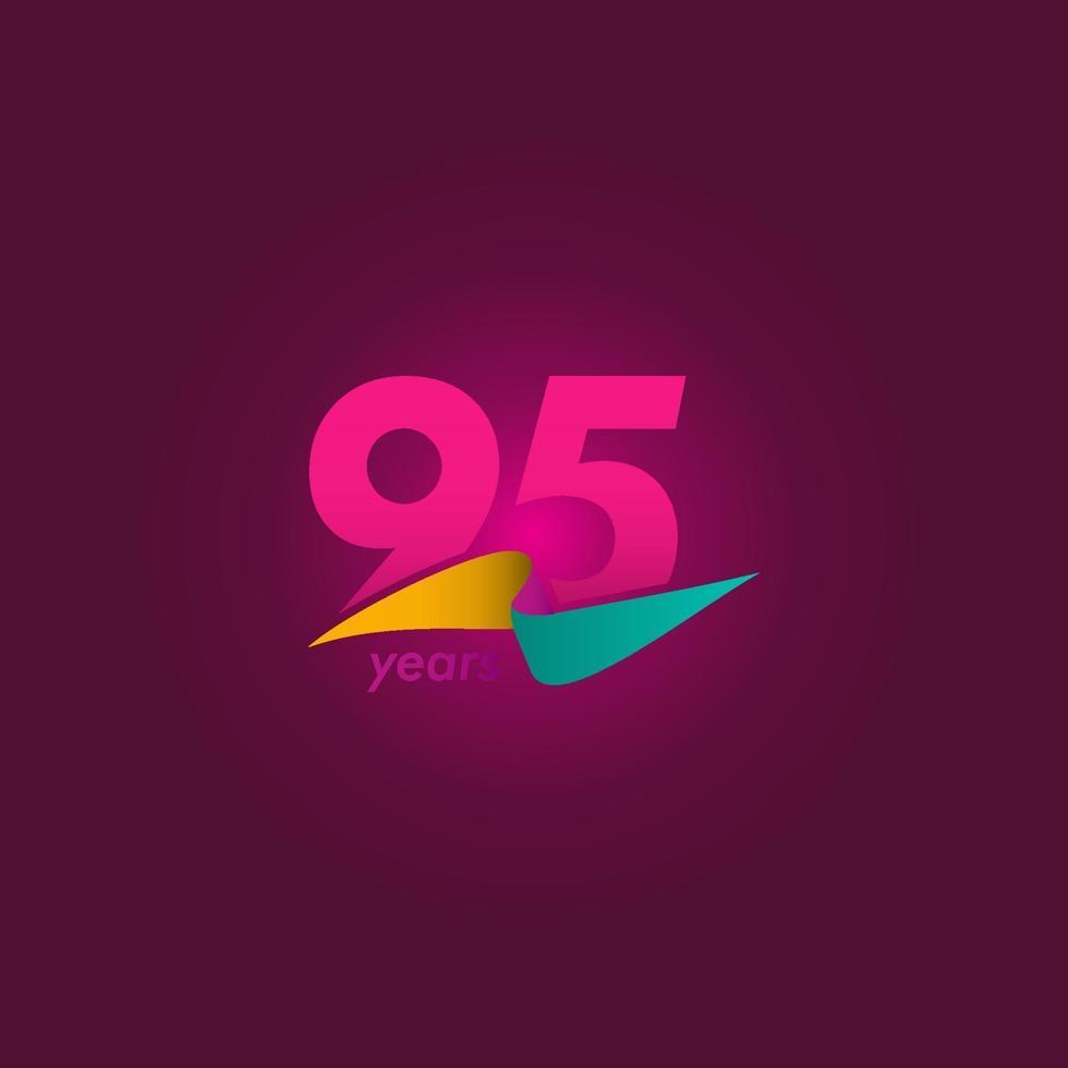 95 anos de celebração de aniversário de ilustração de design de modelo de fita roxa vetor