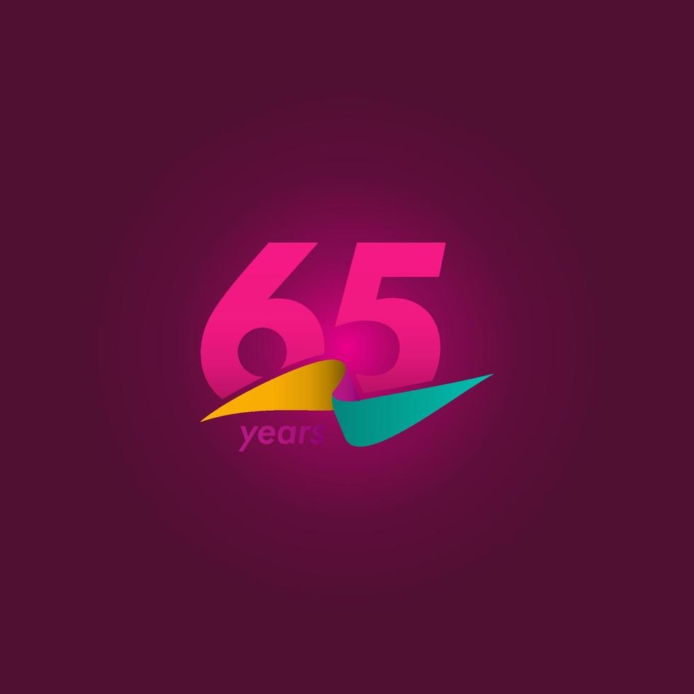 65 anos de celebração de aniversário de ilustração de design de modelo vetorial fita roxa vetor