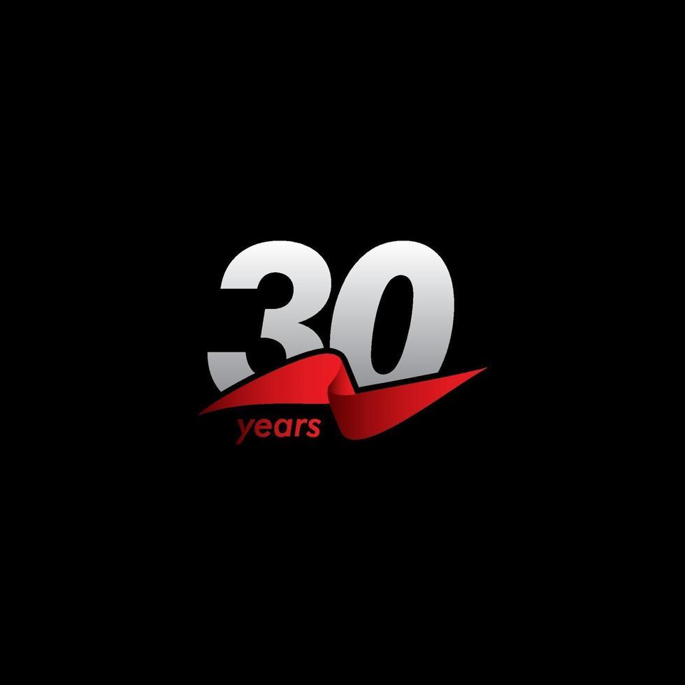 30 anos de celebração de aniversário ilustração de design de modelo de vetor fita vermelha branca