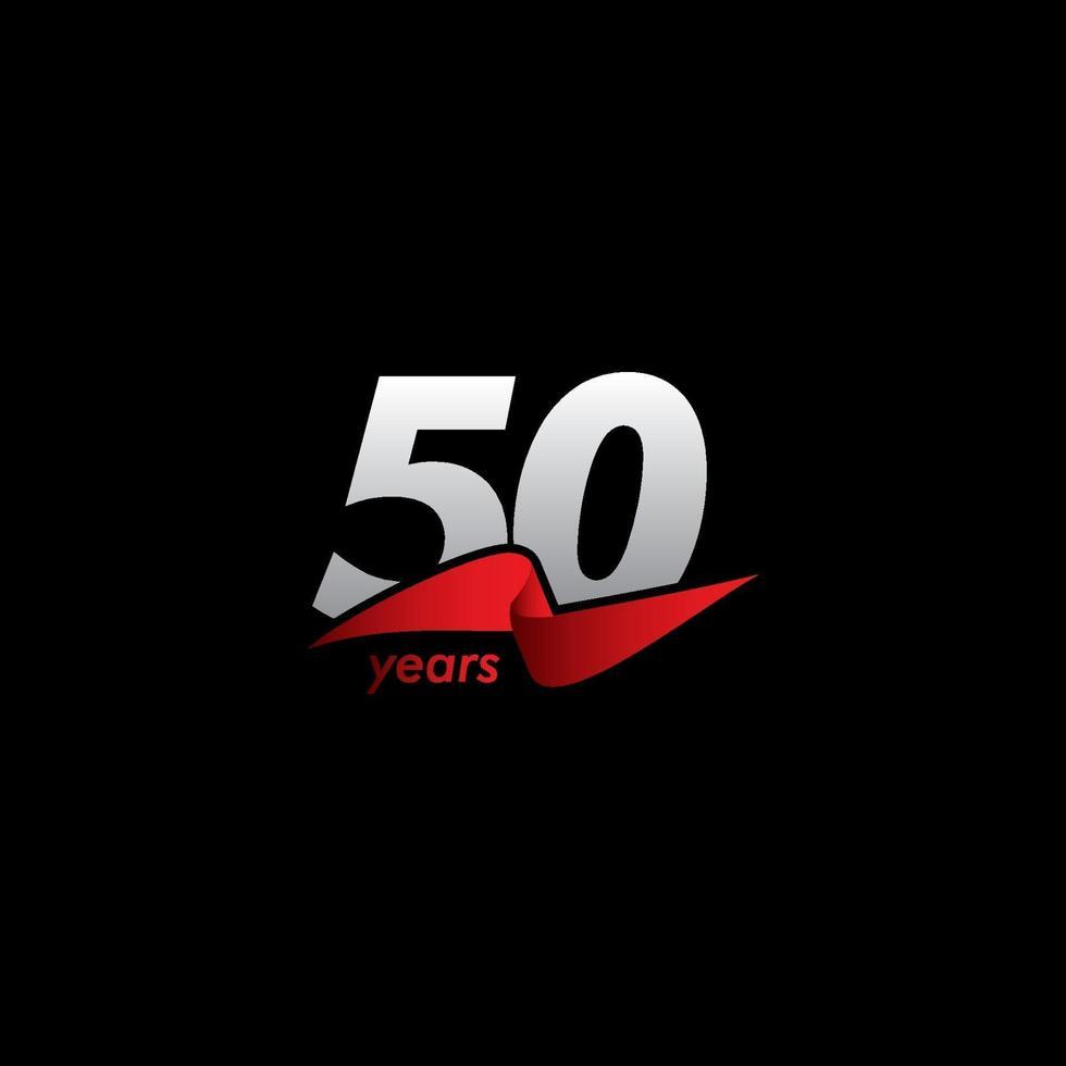 50 anos de celebração de aniversário ilustração de design de modelo vetorial fita vermelha preta vetor