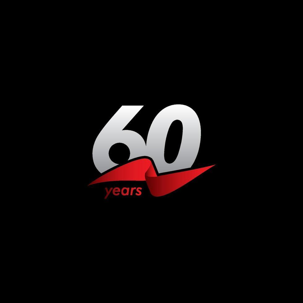 60 anos de celebração de aniversário ilustração de design de modelo de vetor fita vermelha branca preta