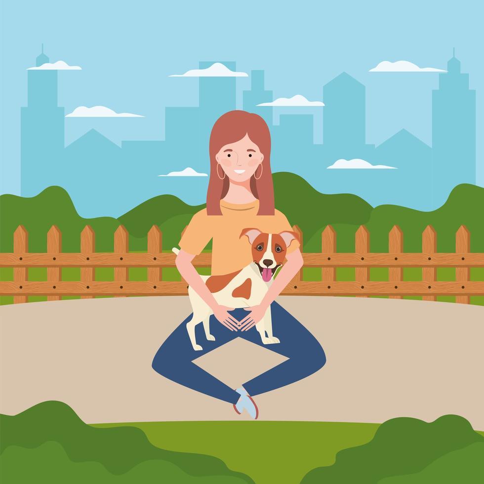 jovem mulher com cachorro fofo no campo vetor