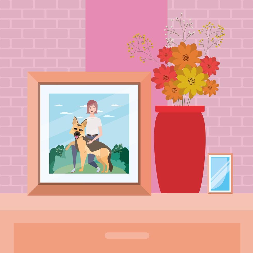 foto de mulher com cachorro fofo no campo vetor